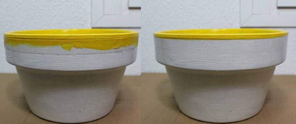 Pintando borde amarillo a maceta usando cinta de pintor para hacer líneas rectas